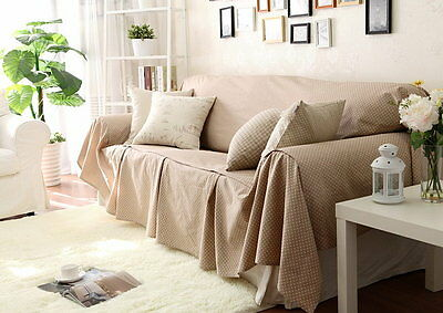 Vintage Style Off White Dots Cotton Linen Love Seats Couch Cover Throw Slipcover