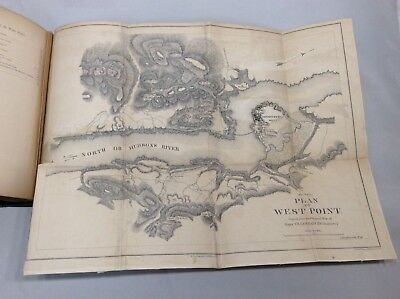 1863 Rare History Of West Point Antique Book W/ Foldout Maps Rebound Military