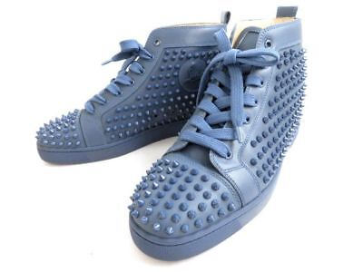 christian louboutin highcut sneakers spike studs navy 1101083 size #43 used