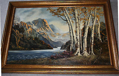 A Mountain River Valley Oil Landscape Lulu Marksman 1934 Signed Antique Painting
