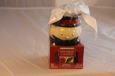 Yankee Candle Snowman Candle Holder Cherries On Snow (12) Tea Lights Christmas