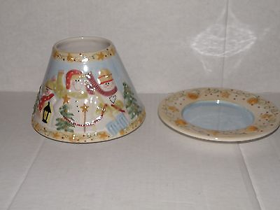 Yankee Candle Snow  Family Large Ceramic Jar Candle Shade & Plate Nwts