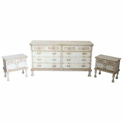 20th Century Italian Country Lacquered Chest And Two Night Stand