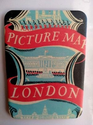 Vintage Fridge Magnet For Refrigerator With A Cover Of London Picture Map, New