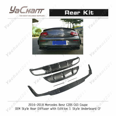 Carbon Kit For 16-18 Benz W205 C63 Coupe Oe Rear Diffuser W/ Edition1 Underboard