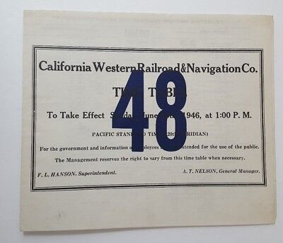 California Western Railroad & Navigation Co. 1946 Employee Timetable #48 L13