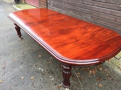 Glass Top Grand Victorian Regency Style Mahogany Table Pro French Polished