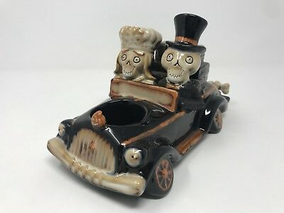 2008 Yankee Candle Boney Bunch Skeleton Car Halloween Votive Married Bride