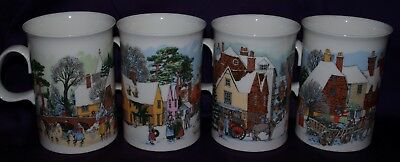 Vintage Christmas Dunoon Fine Bone China Made In England 4 Different Scenes