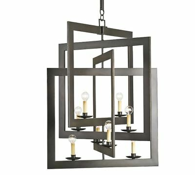 Pottery Barn Mattison Chandelier ~ Wrought Iron Geometric Squares