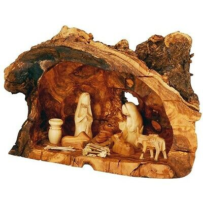 Olive Wood Tree Trunk Nativity Scene Fixed Pieces Set Faceless Figurines 10 Inch