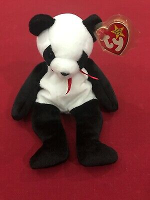 New Fortune The Panda Bear 97/98 Ty Beanie Baby, Rare, Retired With Errors