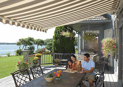 Sunsetter Motorized Retractable Awning, 14 Ft. Xl, Acrylic Fabric, Deck