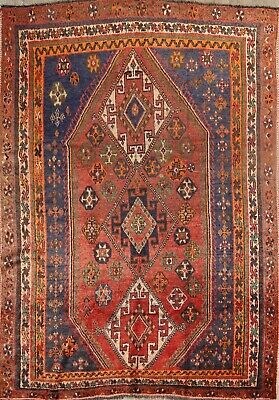 Pre1900 Antique Nomadic Tribal Handmade Vegetable Dye Wool Lori Oriental Rug 5x8