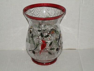Yankee Candle Winter Birds Hurricane Crackle Glass Jar Candle Holder Nwts