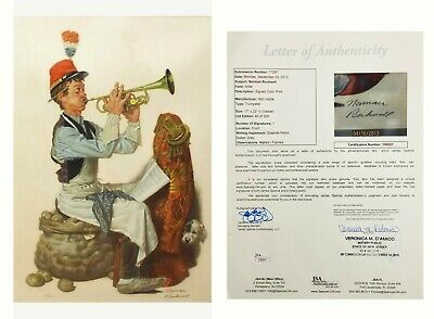 Norman Rockwell - Trumpeter & Dog Lithograph - Hand Signed & Numbered - Framed