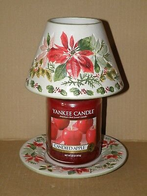 Yankee Candle Pointsettia Large Jar Shade & Plate Nwts