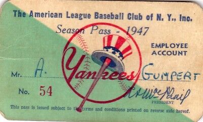 1947 Babe Ruth Day Yankee Stadium Ticket Pass Nyy World Champs Joe Di Maggio Mvp