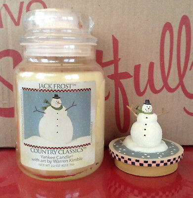 Yankee Candle Jack Frost Warren Kimble 22 Oz Jar & Snowman Topper Christmas New