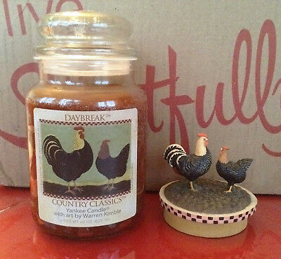 Yankee Candle Daybreak Warren Kimble 22 Oz Jar & Rooster Topper Country Classics