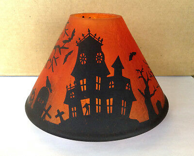 Yankee Candle Orange Haunted House Halloween Shade Topper Silhouettes Nwot