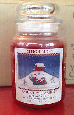 2001 Yankee Candle Sleigh Ride Warren Kimble Country Classics 22 Oz Jar Santa