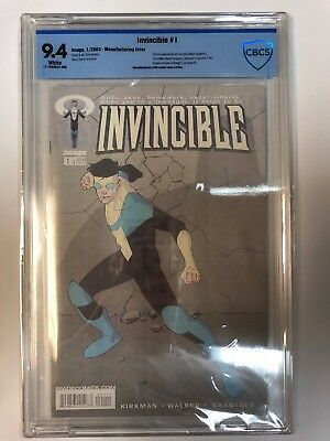 Invincible 1 Key Issue Cbcs 9.4 Super Rare Misprint Cover