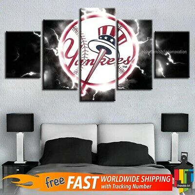 Yankee Sports 5 Piece Panel Canvas Ny Baseball Wall Art Home Decor Wood Framed