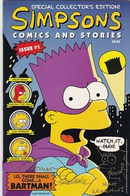 The Simpsons Comics And Stories 1 Signed Groening/morrison/vance 1st Lisa Sketch