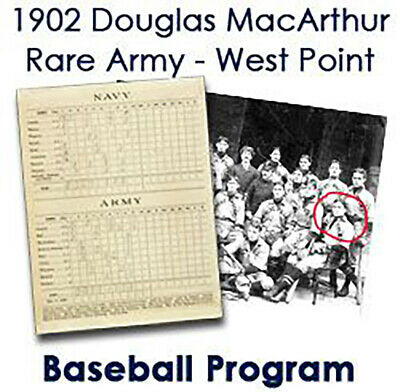 1902 (may 17) Douglas Macarthur Army West Point Baseball Scorecard - Rare!