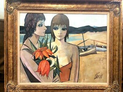 "Charles Levier "" Femmes Sur Le Plage "" --women On The Beach"" Oil On Canvas"