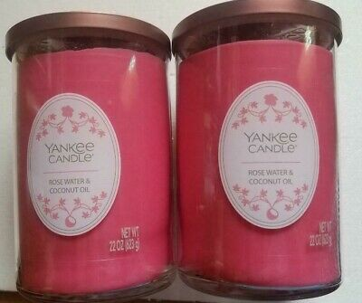 (lot Of 2) Yankee Candles Rose Water & Coconut Oil 22oz   2 Wick New