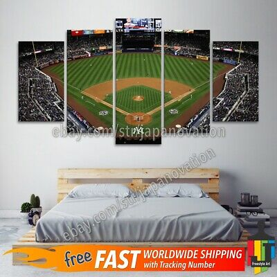 5 Piece Home Decor Canvas Print Sports Wall Art Ny Yankee Stadium Baseball Field