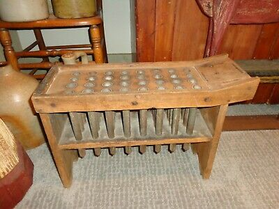 Rare Antique 19th.c Wood & Tin 32 Tube Platform Candle Mold, Primitive (j1)