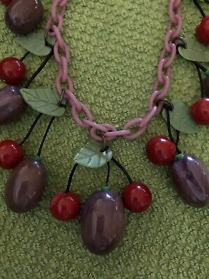 Rare Vintage Bakelite Plums And Cherries Necklace