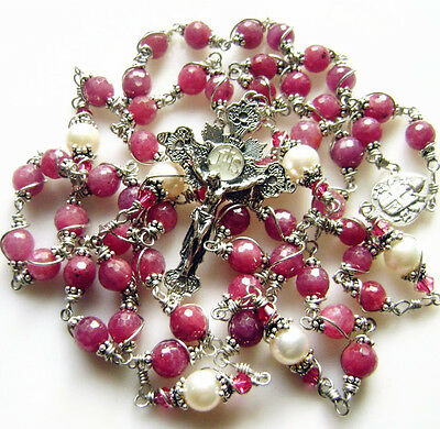 Sterling 925 Silver Undoubted Ruby Rosary Beads Cross Crucifix Gift Necklace Box