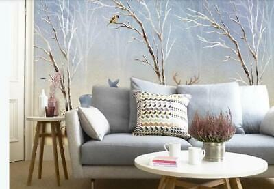 3d Winter Forest Elk Sparrow Wall Mural Removable Self-adhesive Sticker
