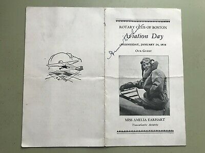 Vtg 1934 Amelia Earhart Signed Boston Book Let Autograph Signature - Estate Find