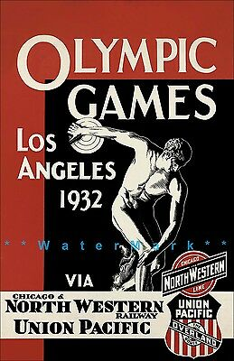 Los Angeles Olympics 1932 California North Western Railroad Vintage Poster Print