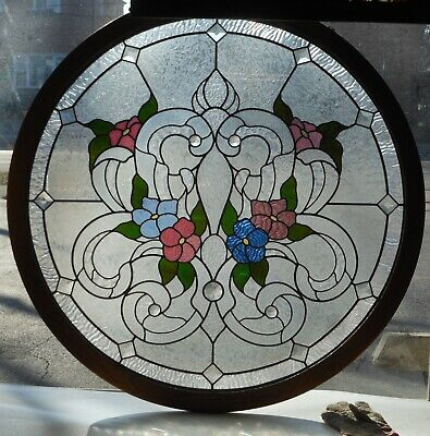 Large Floral Leaded Glass Window Decorator/interior Designer/architect Find
