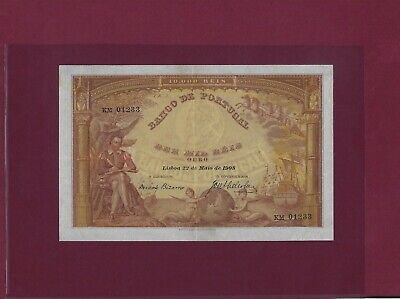 Portugal 10000 Reis 1908 P-81 Ef-au Extremely Rare In This Grade !!!!