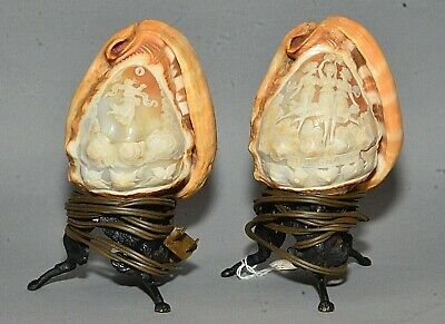 Pair Antique Neapolitan Carved Cameo Helmet Shell Votive Lamps On Griffin Bases