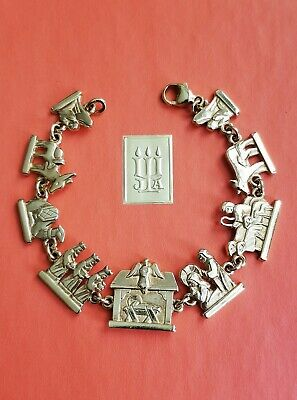 "Retired & Rare James Avery 14k Gold Nativity Link Bracelet 7 3/8""  Solid & Heavy"