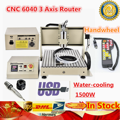 Cnc 6040 3 Axis Router Engraver 1500w Engraving Water Cooling+usb+handwheel Us