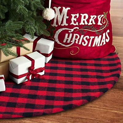 36 Inches Christmas Tree Skirt Red And Black Plaid Buffalo Double Layers Xmas