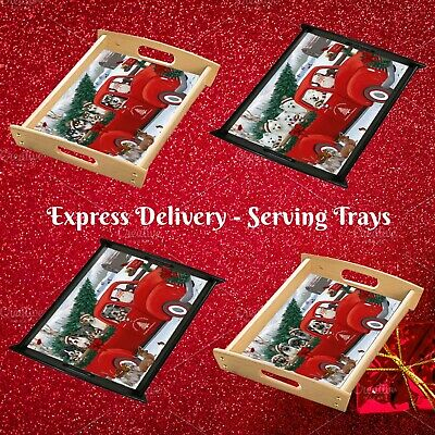 Christmas Santa Express Delivery Red Truck Food Serving Tray, Dogs, Cats, Pet