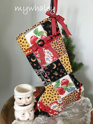 New! Quilted Christmas Stocking Made W/ Mary Engelbreit Patchwork~red Polkadots