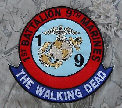 """Usmc 1st Battalion 9th Marines Corps Jacket Patch """"the Walking Dead"""" Large"""