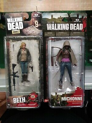 Walking Dead Mcfarlane Figure Lot Beth 9 + Michonne 3 Three Moc Rare