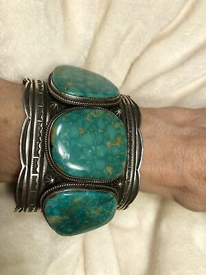 220g Navajo Signed Exquisite Turquoise Sterling Cuff Bracelet - Andrew Cademan